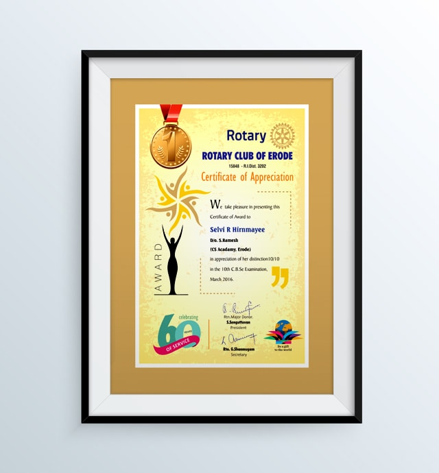 Rotary Club Of Erode Certificate of Appreciation