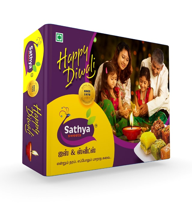 Sathya Sweets, sweet box design.